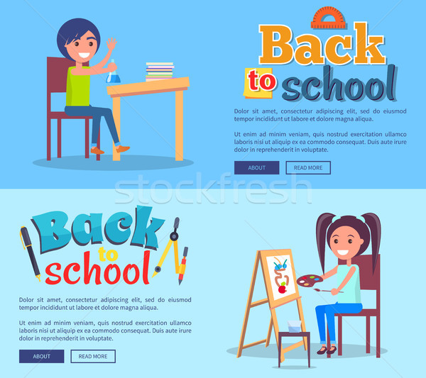 Back to School Poster Set with Girl and Boy Vector Stock photo © robuart