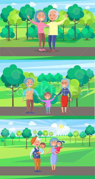 Feliz avós casal velho onda mãos andar Foto stock © robuart