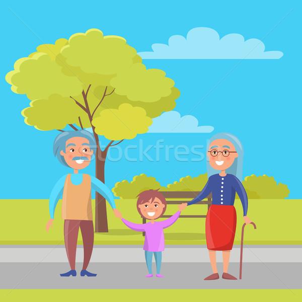 Happy Grandparents Day Senior Couple with Grandson Stock photo © robuart