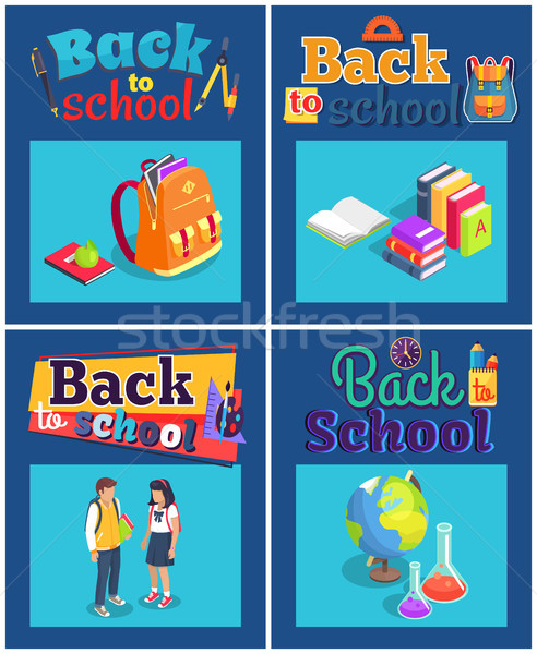 Stock photo: Back to School Set of Posters with Various Objects