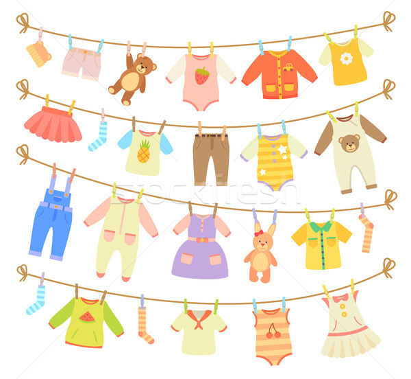 Baby Clothes Hanging on Rope Isolated Illustration Stock photo © robuart