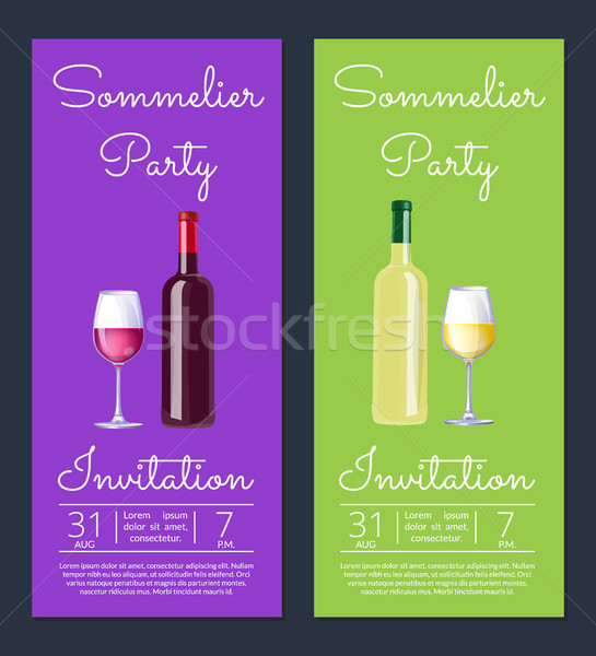 Sommelier Party with Dates on Vector Illustration Stock photo © robuart