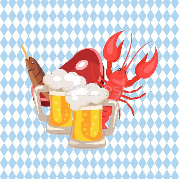 Bière collations à carreaux deux poissons Photo stock © robuart