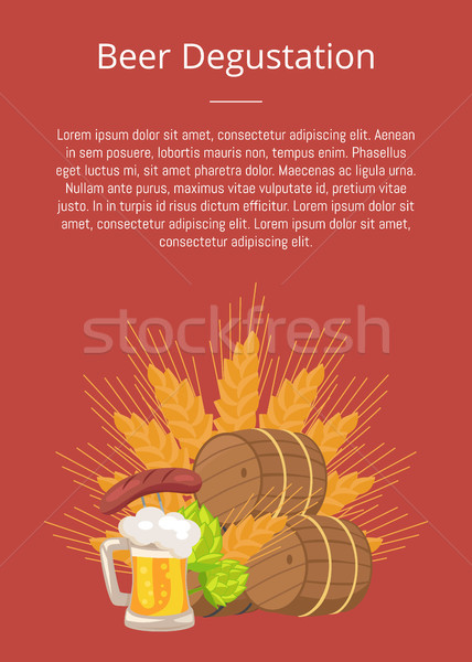 Stock photo: Beer Degustation Poster Vector of Wooden Casks