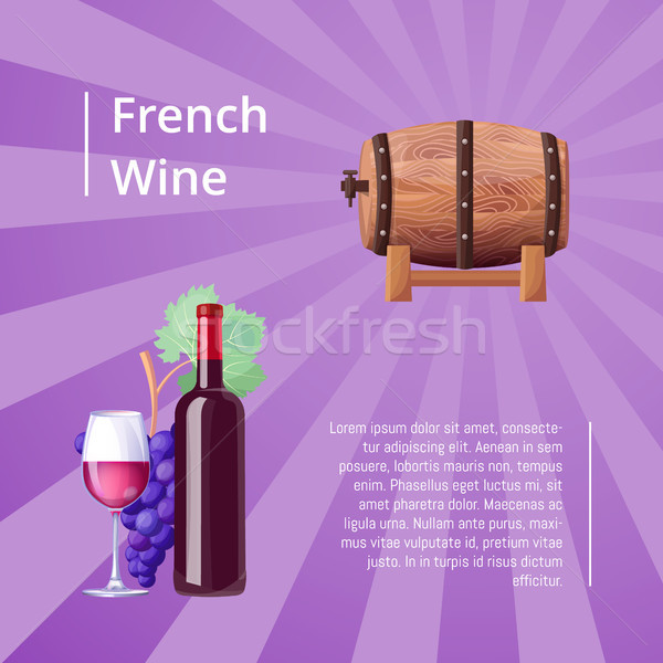 French Wine Poster with Icons Vector Illustration Stock photo © robuart