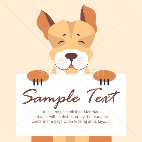 Cute Dog Holding Banner with Sample Text Vector Stock photo © robuart