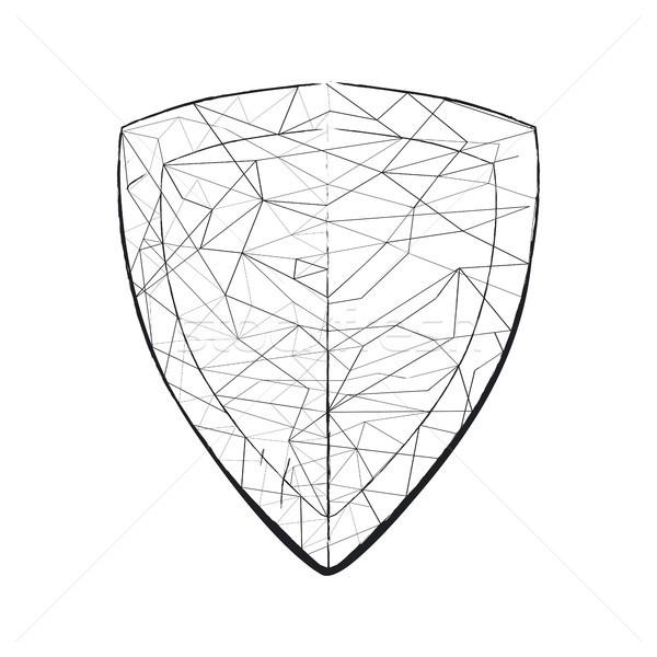 Luz boceto escudo geométrico forma Foto stock © robuart