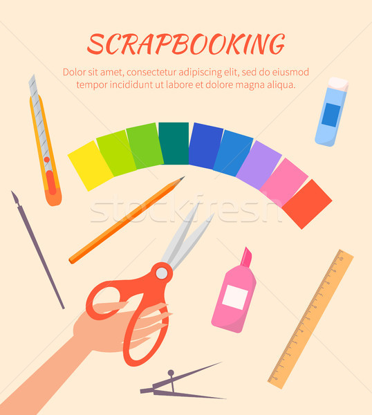 Scrapbooking Vector Poster with Stationary Items Stock photo © robuart