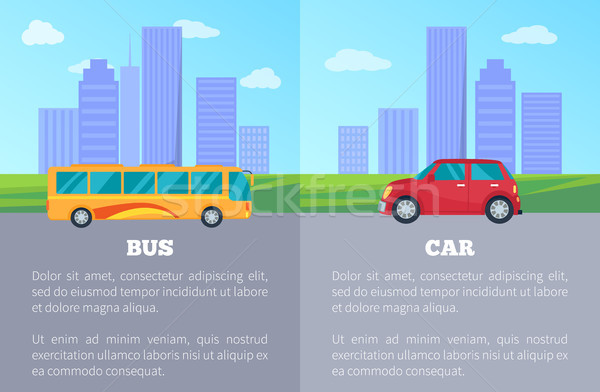 Stock photo: Bus versus Car Comparing Vector Illustration