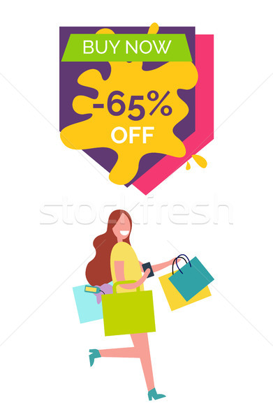 Buy Now -65% Off with Lady Vector Illustration Stock photo © robuart