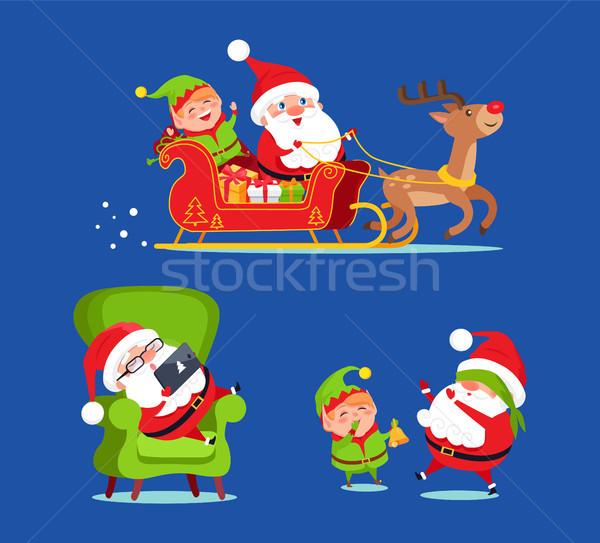 Święty mikołaj jazda konna Jeleń sanki elf ikona Zdjęcia stock © robuart