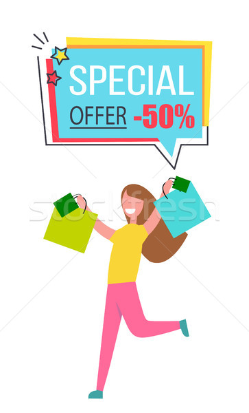 Special Offer Promo Sticker Happy Woman Shopping Stock photo © robuart