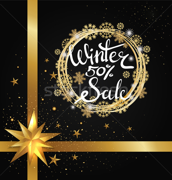Winter Sale 50 Poster with Glittering Star Vector Stock photo © robuart