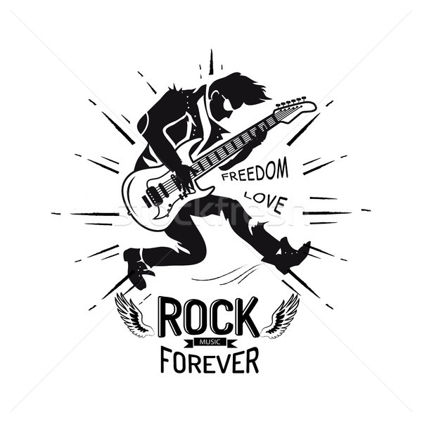 Kaya sonsuza dek özgürlük sevmek gitarist oynama Stok fotoğraf © robuart