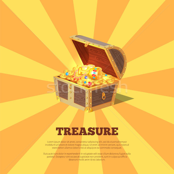 Treasure Poster with Chest Vector Illustration Stock photo © robuart