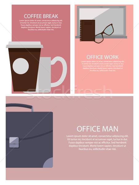 Kávészünet irodai munka férfi szett plakátok aktatáska Stock fotó © robuart