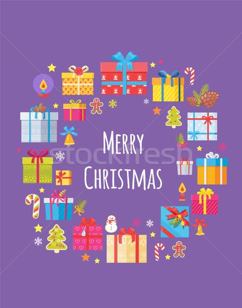Alegre Navidad anunciante presente cajas símbolos Foto stock © robuart