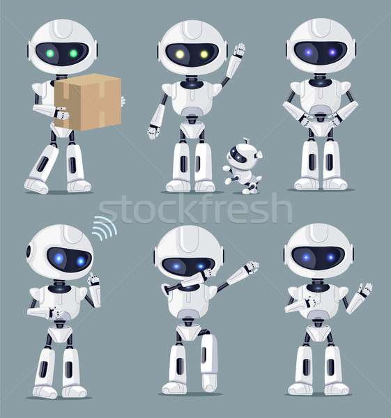 Set of Cute White Ai Machines Vector Illustration Stock photo © robuart