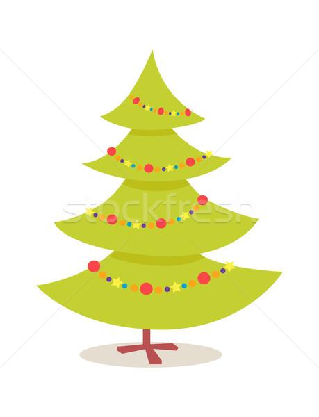 Nowy rok drzewo ikona stoją odznaczony girlanda Zdjęcia stock © robuart