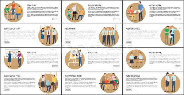 事務 戦略 ビジネス ベクトル イラスト セット ストックフォト © robuart