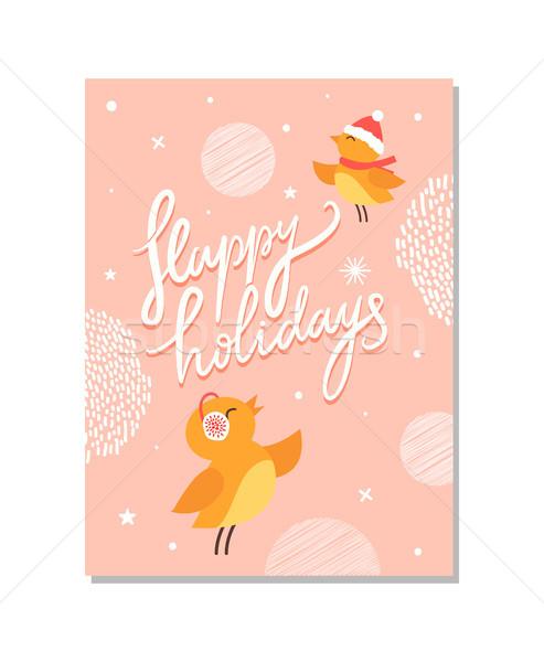 Heureux vacances affiche oiseaux chaud Photo stock © robuart