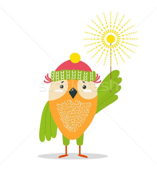 смешные совы трикотажный Hat ярко бенгальский огонь Сток-фото © robuart