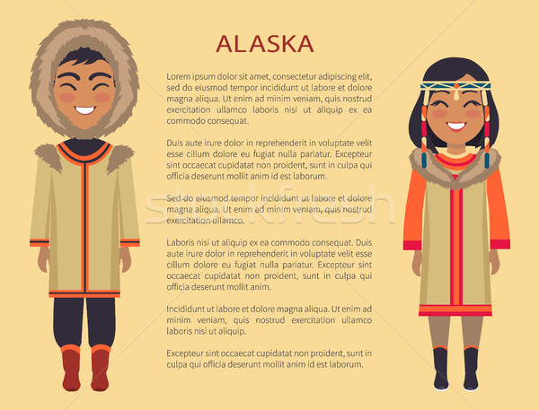 Alaska personnes vêtements chaud fourrures Photo stock © robuart