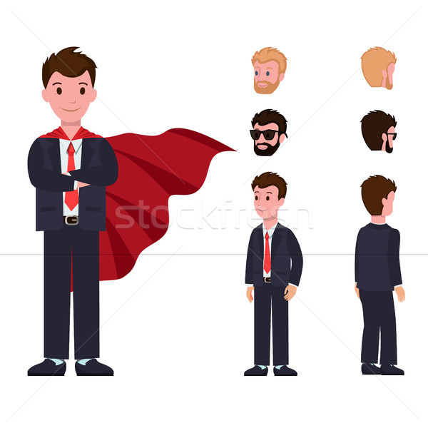 Smiling Cartoon Characters Classic Suit Red Cloak Stock photo © robuart