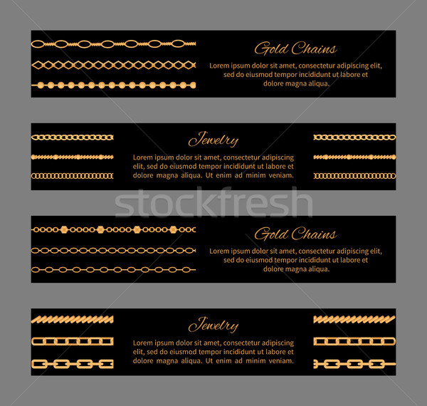 Gold Chains and Jewelry Cards Vector Illustration Stock photo © robuart