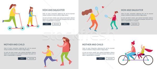 мамы дочь матери ребенка вектора плакатов Сток-фото © robuart