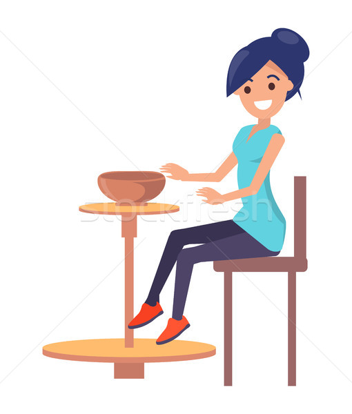 Cute Woman Creating a Clay Bowl, Vector Poster Stock photo © robuart