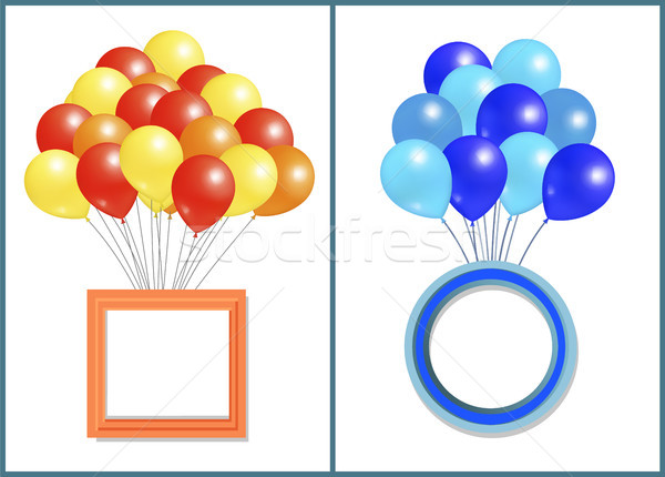 Balloons Big Bundle with Round and Square Frame Stock photo © robuart