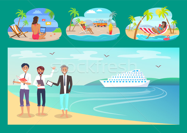 Freelancers Work with Comfort at Sandy Beaches Set Stock photo © robuart