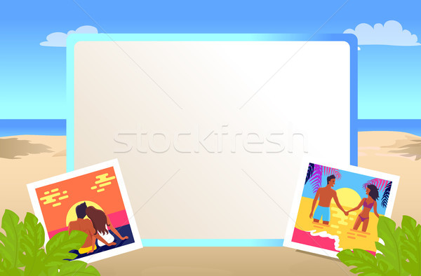 Square Frame with Pictures of Couples on Beach Stock photo © robuart