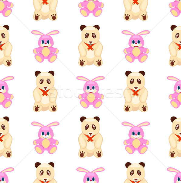 Seamless Pattern with Rabbit and Teddy Bear Vector Stock photo © robuart