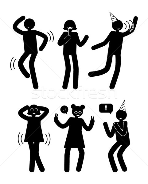 People Having Fun Birthday Party Set Human Dancing Stock photo © robuart