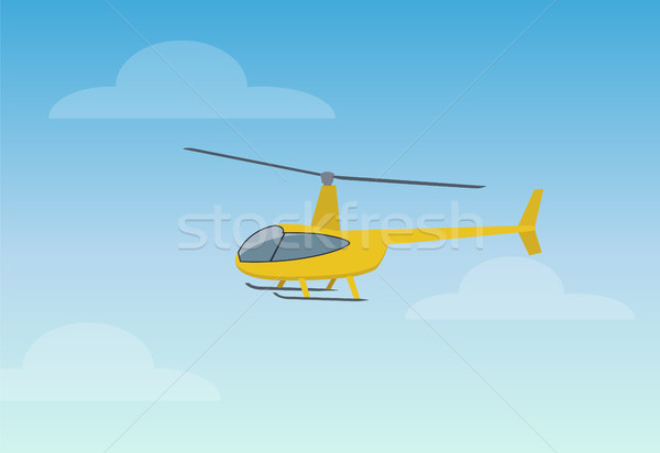 Pretty Yellow Helicopter Color Vector Illustration Stock photo © robuart