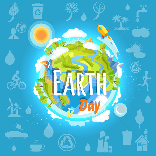 Earth Day Poster with Planet Infrastructure Stock photo © robuart