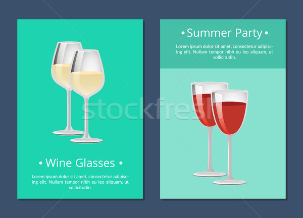 Wine Glasses Summer Party Posters Alchohol Drink Stock photo © robuart