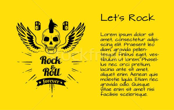 Rock rollen voor altijd poster kleurrijk schedel Stockfoto © robuart