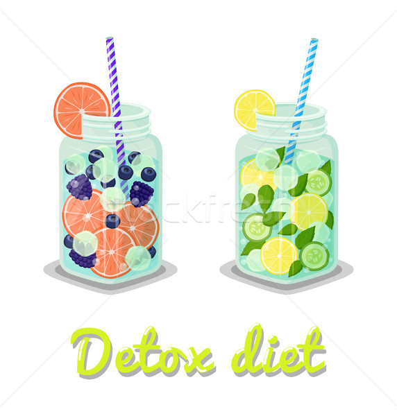 Stock photo: Detox Diet Drinks Collection Vector Illustration