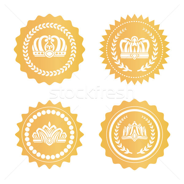 Stock photo: Gold Certificates with Royal Crowns Silhouettes