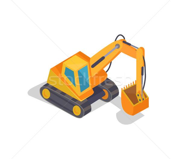 Excavadora máquina banner grande amarillo hidráulico Foto stock © robuart