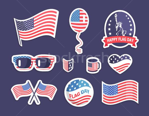 Felice bandiera giorno americano simbolismo colorato Foto d'archivio © robuart