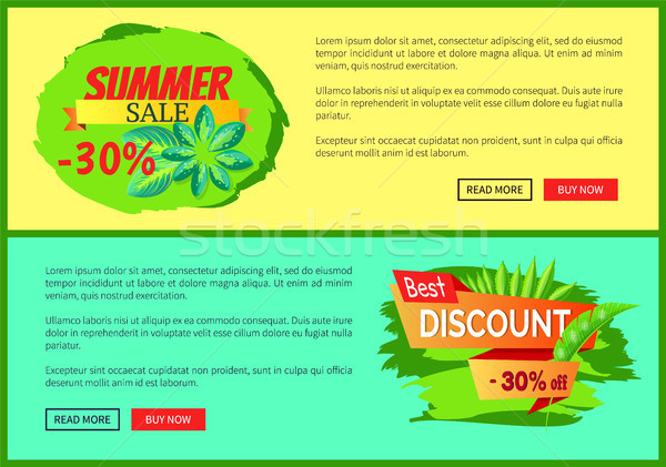 Summer Sale Flyers Set with 30 Off Promo Banners Stock photo © robuart