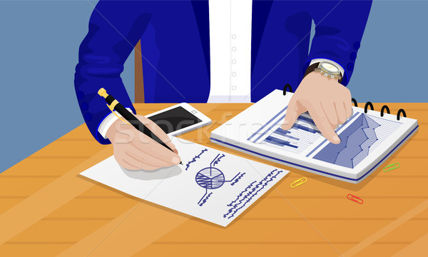 Businessman Writing Diagrams Vector Illustration Stock photo © robuart