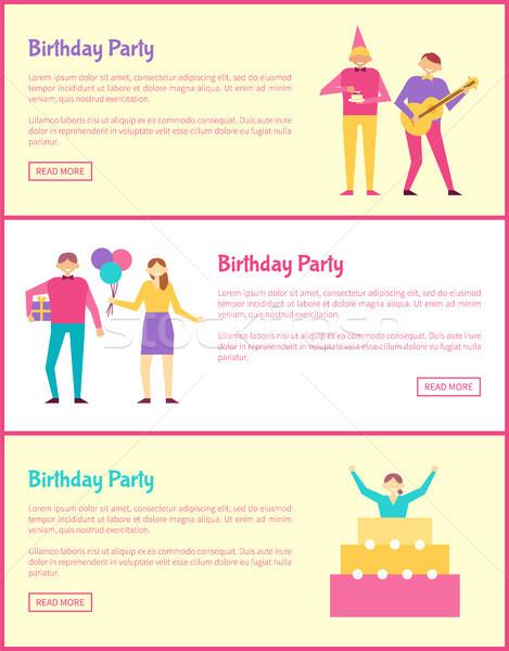 Three Birthday Party Cards Vector Illustration Stock photo © robuart