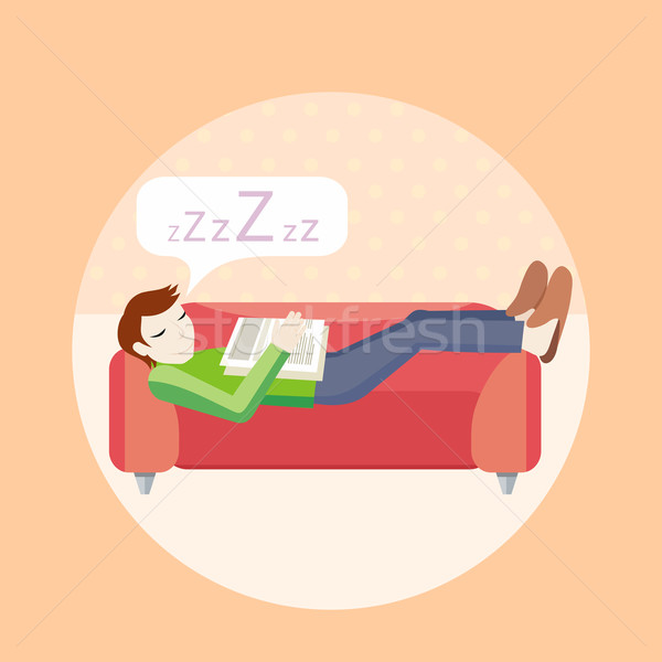 Man sleeping on sofa Stock photo © robuart