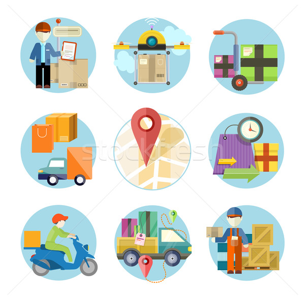 Dienstleistungen Lieferung Waren weltweit Versandkosten Stock foto © robuart