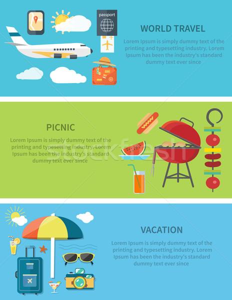 Világutazás piknik vakáció vízszintes háló szalag Stock fotó © robuart